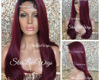 Lace Front Wig - Human Hair Blend - Long Straight - Burgundy - #1b Off Black Roots - Swiss Lace - Side Part - Heat Resistant