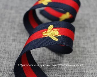 Red Navy Blue 1.5'' Embroidered Ribbon Queen Bee Ribbon Striped Grosgrain Ribbon Single Faced Trim Thick Ribbon Choker Ribbon Belt Trim  #R4