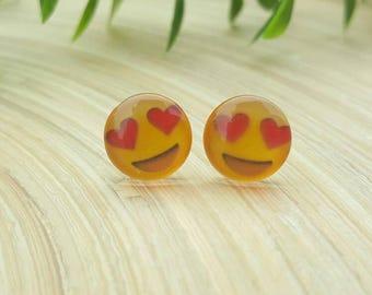 Emoji Love Heart Eyes Glass Cabochon Stud Earrings