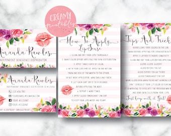 Lipsense business card bundle, tips and tricks, application instructions, loyalty, thank you, marketing branding kit, Flower