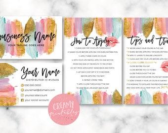 Lipsense business card bundle, tips and tricks, application instructions, loyalty, thank you, marketing branding kit, Brush Stroke Glitter