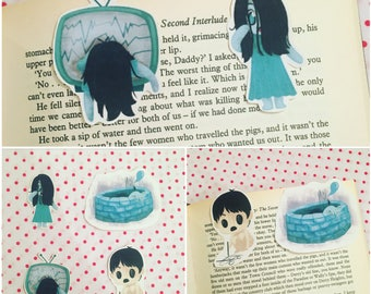 The Grudge bookmarks / Magnetic bookmarks / Bookish / Toshio Saeki bookmarks / Sadako Yamamura