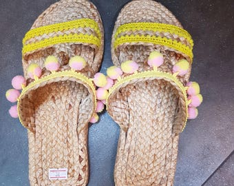 Beach Sandals, Pompom Sandals, Straw Sandals, Beach Shoes, Flip Flops