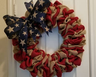 "22"" Patriotic Wreath/ July 4th/ Independence Day/ Red, White & Blue Burlap Wreath"