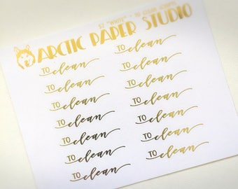 To Clean - SCRIPTS - FOILED Sampler Event Icons Planner Stickers