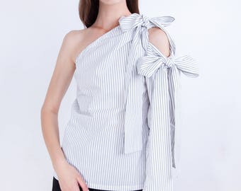 One off shoulder blouse, Striped ribbon shirt