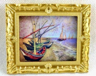 Dollhouse Miniature Framed Picture Boats 1:12 Scale