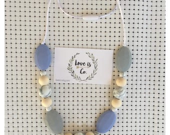 Grey skies  ~ silicone teething necklace