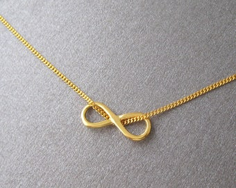 Necklace infinite infinity peace love Silver 925 gold plated 24 k Yellow