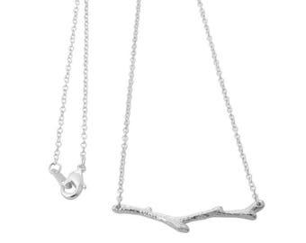 Branch Necklace,Silver Branch Necklace Pendant,Twig Necklace,Silver Twig Necklace,Dainty Silver Branch Twig Necklace,Branch Twig Jewelry