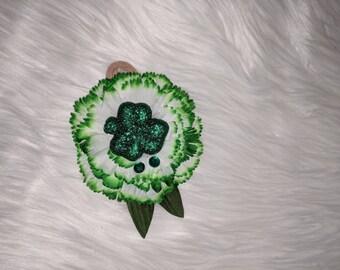 St Patrick's day headband- St Patty's day- green- flower headband- white- shamrock