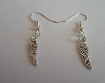 Tibetan Silver Angel Wing Charm Dangle Earrings On Silver Plated Earring Hooks With Gift Box - Ideal Gift