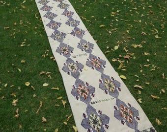 Runner Kilim Rug, Turkish Runner Rug, Oushak Runner Rug, Vintage Rug, 13×2feet,Area Rug, Home Living,Turkish Carpet, Vintage Oushak Carpet,