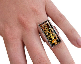 Rectangle ring * tree of life * spirals Klimt cabochon silver plated costume jewelry