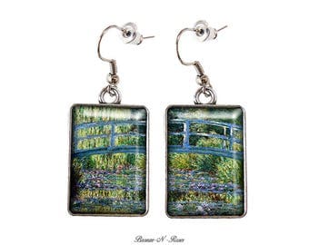 Earrings cabochon glass silver monet Japanese bridge painting