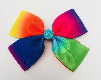 Rainbow double bow with crystal centre.