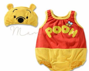 Baby bodysuit Winnie the Pooh design costume with matching beanie