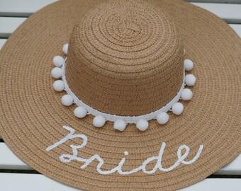Personalized custom sun floppy straw beach hat white pom poms hand-painted Mrs. wedding honeymoon bachelorette derby party