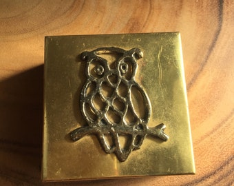 Brass trinket box with owl on branch
