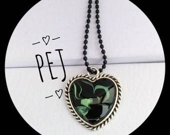 Green/black Heart,cabochon,pendant,necklace,giftsforher