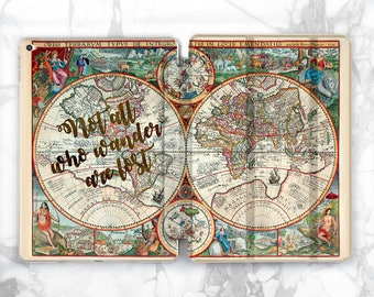 World map ipad case etsy world map ipad pro case not all who wander map ipad case mini ipad 4 case gumiabroncs Image collections