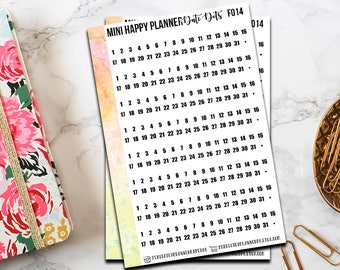 f014    Mini Happy Planner Date Dots // Functional Planner Stickers