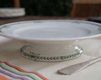 Plate on pedestal, St Amand, white, green, vintage.
