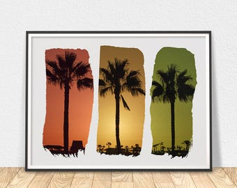 Palm Trees Print - Printable Art, Sunset Art Print, Tropical Wall Art, Palm Tree Poster, California Wall Art, Sunset Tropical Art