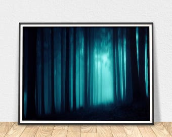 Enchanted Forest - Printable Art, Forest Fog Print, Forest Wall Art, Enchanted Forest, Blue Color Art, Mist Forest, Landscape Print