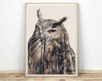 Eagle Owl Print - Owl Printable Poster, Woodland Decor, Forest Owl Wall Art, Owl Decor, Printable Wall Art, Owl Nursery Art, Wise Owl Print