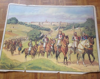 History of France poster - MDI - the castle was attacked / departure for the crusade