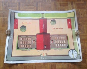 School poster - MDI - pictures 1 & 2 - map school, the cardinal - vintage