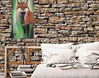 Fox summer, painting was acrylic original work.