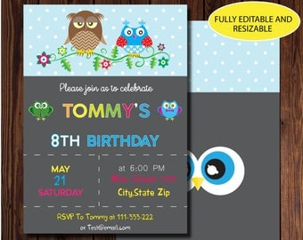 """Owl Invitation Birthday Party, Birthday Invitation, Editable Printable Digital File with Instant Download, Owl cards,EPS file,4""""x6"""",5""""x7"""""""
