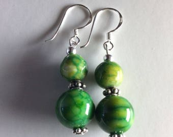 Agate earrings, green agate earrings, dangle and drop earrings with silver beads.