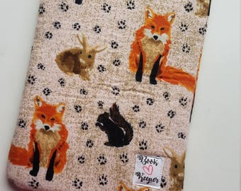 Woodland creatures book sleeve - ALL SIZES