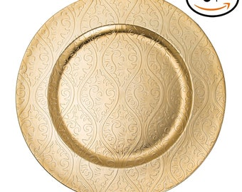 24 pcs chaarger plates with beaded gold