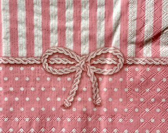 Decoupage Napkins x4, Paper Napkins for Decoupage Scrapbooking Collage Craft Pink Bow Design Pattern 556
