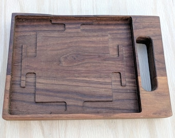 Tea Serving Tray with Laser Engraved Navayoni Yantra & Bhupur Gate Routed from Tray