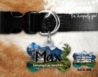 Personlized Pet ID Tag Bone Pet Tag-Adventure Mountains Dog Tag Dog Name Tag