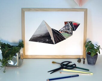 3D Geometric Triangles Collage Print