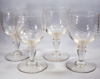Antique Wine Glasses with Swirl Pattern