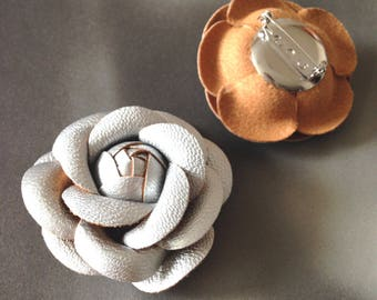 Leather flower lapel  pin, chanel inspired accessory, Silver camellia brooch pin