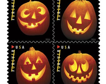 Great for Halloween! Plan Ahead - -Jack-O-Lanterns are Perfect Postage for your Halloween Party Invitations!