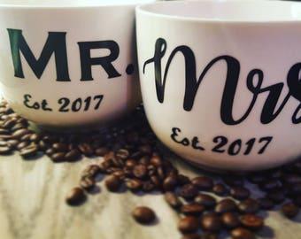 Set of Custom Mr. & Mrs. Mugs - Coffee - Tea - Mug -  Personalize - Couples - Husband Wife Set