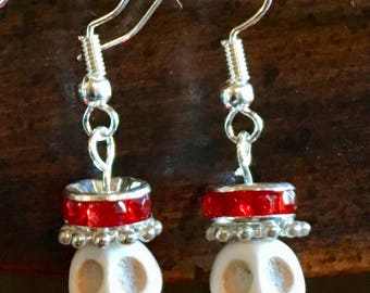 Day of the Dead Howlite Skull Earrings Infused with Reiki