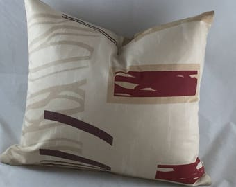 Beige with rusty red print cushion