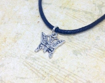 Butterfly Choker Necklace, Butterfly Necklace, Black Choker, Nature Necklace, Insect Jewellery, Butterfly Jewellery, Nature Lover Gift