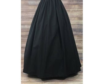 Skirt Only-Renaissance Civil War Victorian Southern Belle LARP Cosplay Dickensonian Pioneer - black - full maxi skirt dress costume