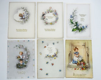 Postcards greeting card mothers day mixed b 1940s Germany Ephemera VINTAGE 6 pcs